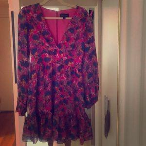 Pink and multicolor Saloni silk mini dress